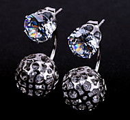 New Products For 2015 Crystal Ball Stud Earrings Double Side Crystal Earring Accessories Platinum Silver Plated Jewelry