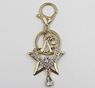 Fashion Unisex Shining Crystal Alloy Star Heart Style Pendant Keychains