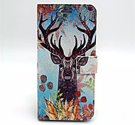 Elk Pattern PU Leather Case Cover with Stand and Card Holder for iPhone 6