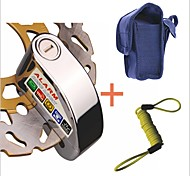 7mm Pin Silver Security Anti Thief Motorbike Motorcycle Scooter Wheel Disc Brake Alarm Lock with Bag & Reminder Cable