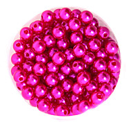 Beadia 64g(Approx 300Pcs)  ABS Pearl Beads 8mm Round Fuchsia Color Plastic Loose Beads DIY Accessories