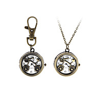 Classic Lovely fashion Hollow Bicycle Pendant Brass Pocket Watch with Chain for Men Women Ladies Students Key Ring Watch