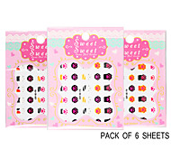 Pack of 6 Sheets 3D Nail Decals Nail sticker The Bear's Paw  QJ-3D-603-605