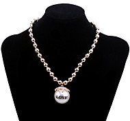Fashion Women's Big Pearl Pendant Necklace with Crystal and Love Words (Gold plated)