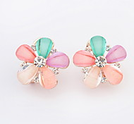 New Style For 2015 Fahsion Jewelry Flower Shaped Acrylic Alloy Earring Crystal Earrings For Women
