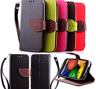 Leather Flip Leaf Style Stand Wallet Card Holder Case Cover for Motorola Moto E Phone Bags Cases + Lanyard
