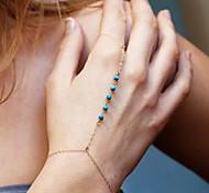 Little Blue Bead Bracelet With Ring