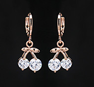 Women's Fashion Gold Filled Cherry Shaped CZ Stone Dangle Earring