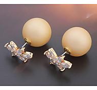 Fashion Jewelry Gold Lock Shaped Zircon Crystal Pearl Earring Double Sided Pearl Earring Cheap Pearl Earring For Women