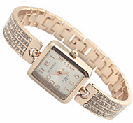 Women's Rectangle Dial Rose Gold Alloy Band Quartz Analog Bracelet Watch Cool Watches Unique Watches