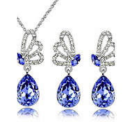 Z&X® Alloy Fashion Austrian Crystal Butterfly Jewelry Set Party/Daily 1set(Including Necklaces/Earrings)