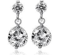 Simple Women's CZ Diamond Inlaid S925 Silver Stud Earrings 2pcs