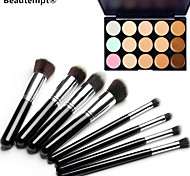 8PCS Silver Black Handle Cosmetic Makeup Brush Set&15 Colors Camouflage Natural Concealer/Foundation/Bronzer