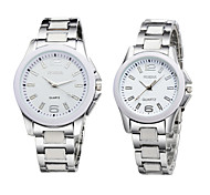 New Silver Stainless Steel Pure Color Lovers' Watches Men Women Dress Watch Couple Quartz Watch For Lover's Gift