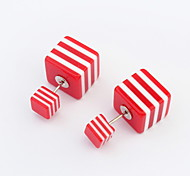 2015 Europe Style Double Side Acrylic Earrings Free Shipping Square Double Pearl Stud 6 Colors Gift For Women