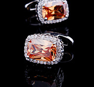 Fashion Men Square Orange Crystal CZ Rhinestone Silver Gold Gift Cufflinks