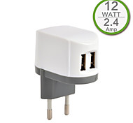 CE certifié double chargeur usb mur, prise Europe, la production de 2..4a 5v, pour l'iphone 5 iphone 6 / plus, l'air ipad, ipad mini,