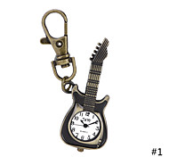 Unique Antique Fashion Alloy Creative Guitar Pocket Watches Pendent Necklace Key Chain Watch For Men Women Gift