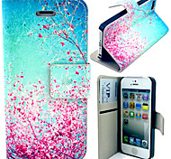 Beautiful Peach Blossom Pattern with Card Bag Full Body Case for iPhone 4/4S