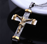 Stereoscopic Jesus Cross Titanium-Steel Pendant(Gold)(1Pc)