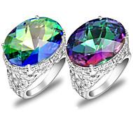 regalo de la familia clásica del arco iris de fuego ovalada topacio místico gema 925 anillos de plata de los estados para el banquete de