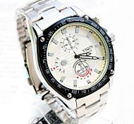 novo relógio redondo design de moda de aço movimento pc com ligação vida alça de quartzo impermeável dos homens (cores sortidas)