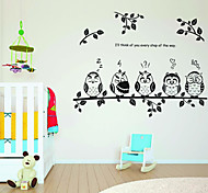 Cartoon Owls Family PVC Wall Sticker Wall Decals