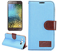 Luxury DenimPU Leather  Card Holder Wallet Flip Phone Holster Samsung Galaxy E5(Assorted Color)