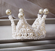 Man Made Pearl Material Round Style Wedding Tiara Kids Also Can Use A1006H