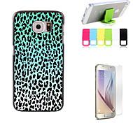 étui rigide léopard bleu de conception d'impression avec protecteur d'écran et le support de fixation pour Samsung Galaxy S6