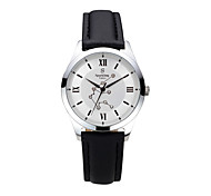 Men's  Water-Resistant  with Man-made Crystal White Dial Leather Band Quartz Analog  Fashion Watch of Aquarius