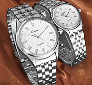 vestido de la pareja reloj reloj de pulsera de acero inoxidable resistente al agua de cuarzo japonés