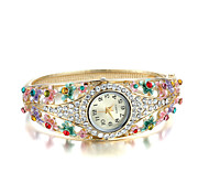 Sjewelry Lady Colorful Enamel Crystal Watch 24K Gold Plating Bracelet Cool Watches Unique Watches
