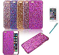 Glitter Powder Leather Coated Hard Back Cover for iPhone 6 Plus+Protective Film+Pen (Assorted Colors)