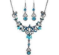 Costume Vintage Aulic Style Rhinestone Women Necklace Earrings Set