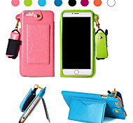 Lanyard Leather Pouch Card Case with Kickstand for iPhone 6 Plus (Assorted Colors)