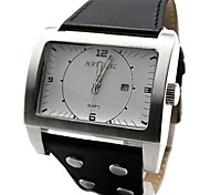 New Good Fashion White Dial Leather Band Mens Watch