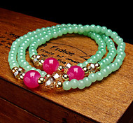European Style Fashion Candy-colored Imitation Crystal Multilayer Beaded Bracelet