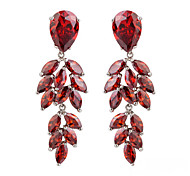 Luxury Women's Leaf Shape Tassel Crystal Earring Drop Earrings 2pcs