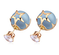 New Style AAA+ Zircon Crytal Stud Earrings Star Shaped 18K Plated Pearl Earrings Cheap High Quality Earrings For Girls