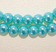 Beadia 3 Str(approx 580pcs) Fashion 4mm Round Glass Pearl Beads Turquoise Color DIY Spacer Loose Beads