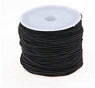 1 Roll 24m Long Black Round Elastic Beading Thread Cord 1mm