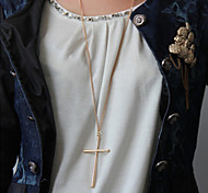 Metallic Cross Pendant Necklace Long Necklace