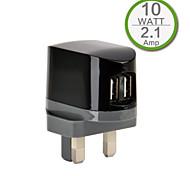 CE Certified Dual USB Wall Charger, UK Plug,5V 2.1A output, for iPhone 5 iPhone 6/Plus, iPad Air, iPad Mini, iPad4