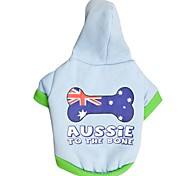 "Lovely USA Flag Bones""Aussie To The Bone"" Pattern Fleeces Hoodies T-Shirt for Dogs(Light Blue Assorted Sizes)"
