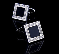 Toonykelly® Fashion Silver CZ Zircon Crystal Black Enamel Men Shirt Cufflink Button(1 Pair)