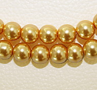 Beadia 3 Str(approx 580pcs) Fashion 4mm Round Glass Pearl Beads Yellow Color DIY Spacer Loose Beads