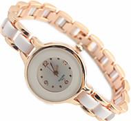 Mulheres Relógio Elegante Quartzo Lega Banda Bracelete Elegantes Branco marca