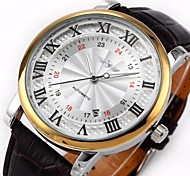 Men's Auto-Mechanical Dress Watch Black PU Leather Band Wrist Watch Cool Watch Unique Watch
