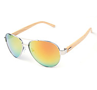 UV400 Protection Metal Alloy + Bamboo Frame PC Lens Sunglasses